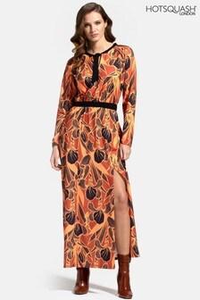 HotSquash Neck Tie Long Sleeve Maxi Dress