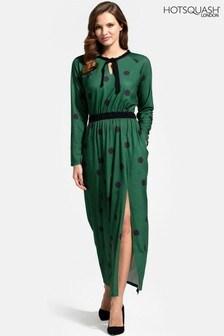 HotSquash Long Sleeve Neck Tie Maxi Dress