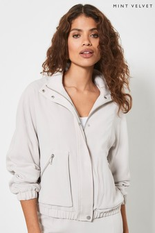 Mint Velvet Womens Beige Zipped Bomber Jacket