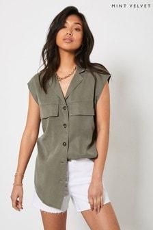 Mint Velvet Women Khaki Long Sleeveless Shirt
