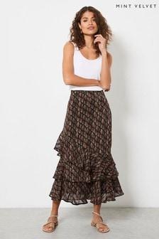 Mint Velvet Womens Demi Floral Ruffled Midi Skirt