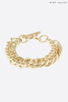 Mint Velvet Women Gold Tone Curb Chain Bracelet