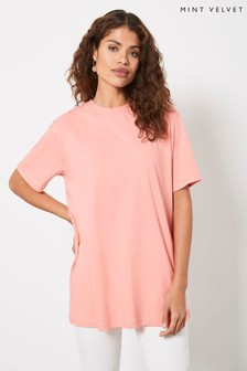 Mint Velvet Womens Orange Long Boyfriend T-Shirt