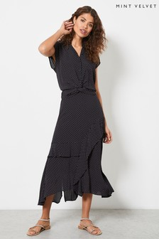Mint Velvet Women Polka Dot Ruffled Midi Skirt