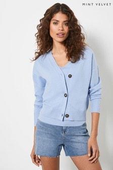 Mint Velvet Women Light Blue Buttoned Cardigan