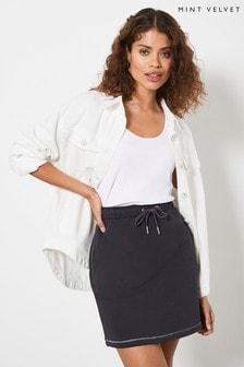 Mint Velvet Womens Grey Loopback Mini Skirt