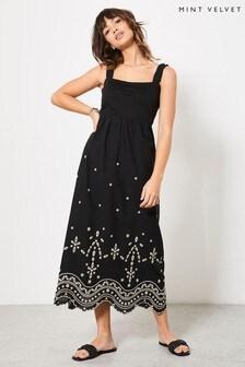 Mint Velvet Women's Black Broderie Maxi Dress