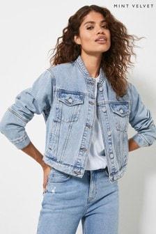 Mint Velvet Women's Indigo Denim Bomber Jacket