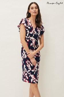 Phase Eight Blue Helene Printed Jersey Dress