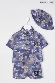 River Island Beige Camo Monogram Shirt Shorts Set