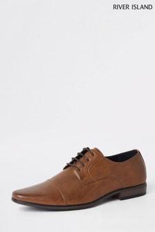River Island Brown Reggae Toecap Derby Shoes