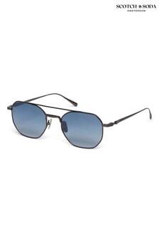 Scotch & Soda Hexagonal Metal Gunmetal Sunglasses