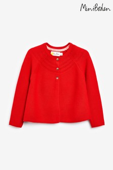 Boden Red Cotton Cashmere Mix Cardigan