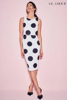 Glamour Cream Spot Scuba Dress