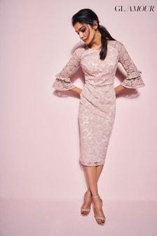 Glamour Pink Blush Lace Ruffle Pencil Dress