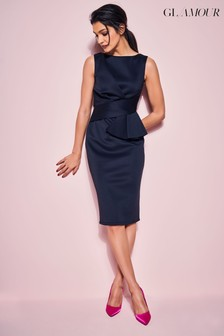 Glamour Black Ruffle Pencil Dress