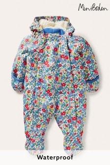 Boden Blue Floral Waterproof Snowsuit