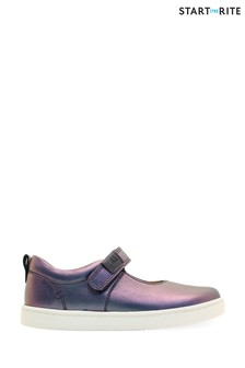 Start-Rite Mystery Navy Iridescent Leather Riptape Shoes