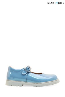 Start-Rite Destiny Blue Glitter Patent Leather Riptape Shoes