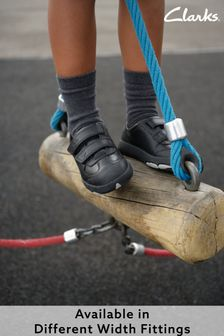 Clarks Black Dinosaur Sole Leather Shoes