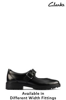 Clarks Black Leather Buckle Shoes