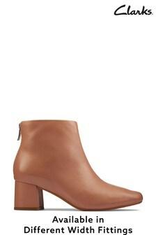 Clarks Praline Leather Sheer55 Zip Boots