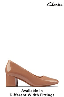 Clarks Praline Patent Sheer55 Court Shoes