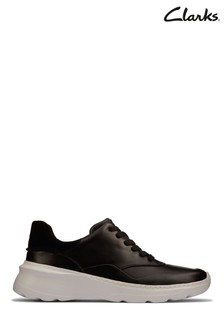 Clarks Black Leather Sprint Lite Lace Trainers