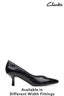 Clarks Black Croc Violet55 Court Shoes