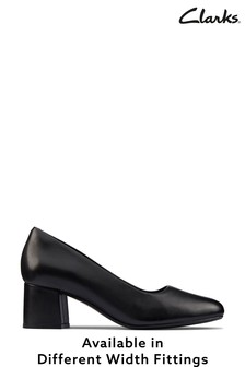 Clarks Black Leather Sheer55 Court Shoes
