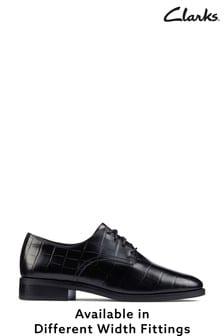 Clarks Black Croc Ria Derby Shoes