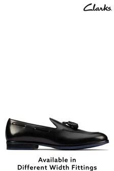Clarks Black Leather Citistride Slip Shoes