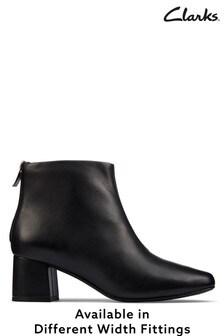 Clarks Black Leather Sheer55 Zip Boots