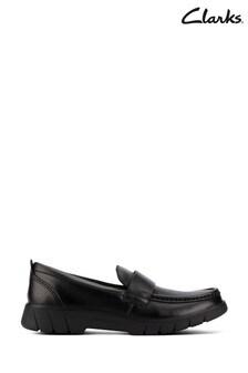Clarks Black Leather Loafer Slip-On Shoes