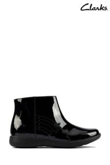 Clarks Black Patent Rainbow Detail Boots