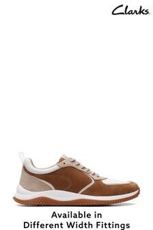 Clarks Dark Tan Combi Puxton Run Shoes