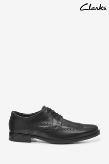 Clarks Black Leather Howard Wing Shoes