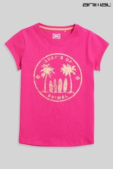 Animal Girls Pink Carissa Surfs Up Organic T-Shirt
