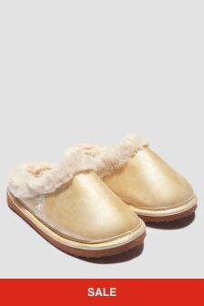 Ralph Lauren Kids Girls Cream Slippers