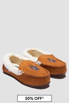Ralph Lauren Kids Boys Brown Slippers