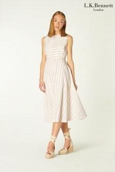 L.K.Bennett Clementin Red Fine Stripe Linen Dress