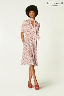 L.K.Bennett Mika Printed Tie Front Dress