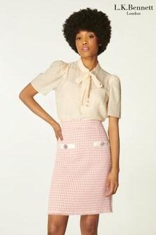 L.K.Bennett Beau Pink Tweed Skirt