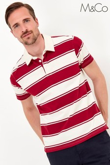 M&Co Men's Stripe Red Rugby Polo Shirt