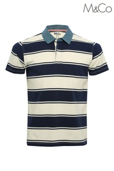 M&Co Men's Stripe Blue Rugby Shirt