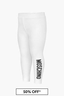 Moschino Kids Baby Girls White Leggings