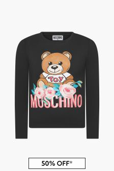 Moschino Kids Girls Black T-Shirt