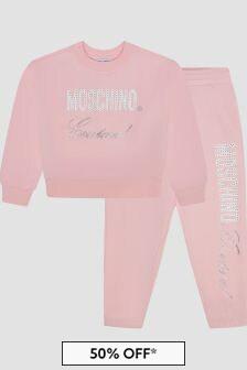Moschino Kids Girls Pink Tracksuit