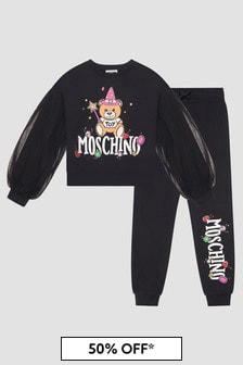 Moschino Kids Girls Black Tracksuit