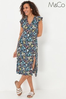M&Co Navy Ditsy Floral Dress
